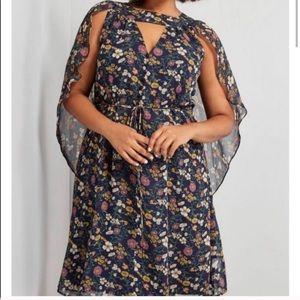 ModCloth- floral dress with Cape L